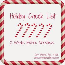corn beans pigs and kids holiday check list 2 weeks before