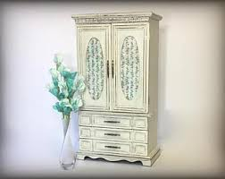 Whitewash Jewelry Armoire Standing Jewelry Armoire Etsy