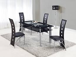 modern kitchen sets extendable rectangular frosted glass top leather modern dining set