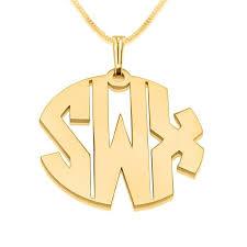 Gold Monogram Necklace 11 Best Gold Plated Monogram Necklaces Images On Pinterest