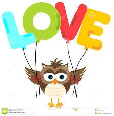 cute owl holding love balloon stock vector image 49276230