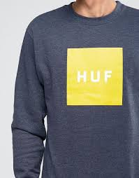 huf t shirt huf sweatshirt with box logo navy men huf shirts