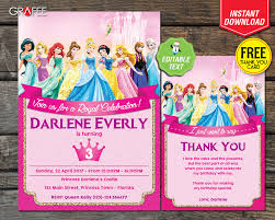 Princess Birthday Invitation Cards Disney Princess Birthday Invitation Card Party Editable Text