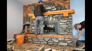 how to install stone veneer over brick fireplace interior