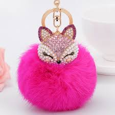 fashion key rings images Wholesale fur pompom key chains bag real fox fur keychains fashion jpg