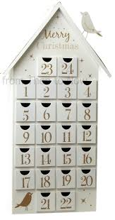 wood advent calendar from then to now x large white gold wooden advent house calendar