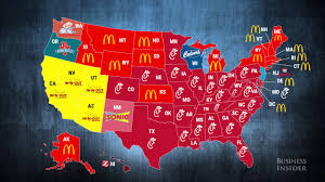 Red And Blue State Map by Most Popular Fast Food Restaurants In Every State Youtube