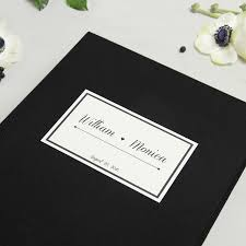 black guest book wedding guest book album black with paper label empty pages liumy