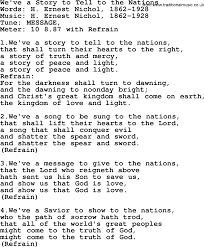 holy week hymns song we ve a story to tell to the nations lyrics