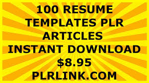 Instant Resume Templates 100 Professional Resume Templates And Cover Letters Plr Articles