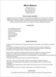 resume format for experienced embedded software engineer
