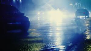 it s raining drop with colorful traffic lights at