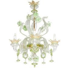 1950s Chandelier Venetian 1950s Murano Glass Mint Green Floral Motif Chandelier
