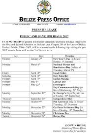 holidays 2017 dates in belize calendar and information