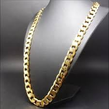 cuban chain necklace gold images Men 39 s 14k yellow gold plated 24 inches cuban link chain necklace jpg