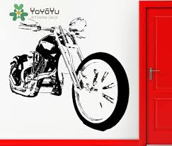 home decor for man removable wall sticker vinyl decal bike chopper motorcycle rock
