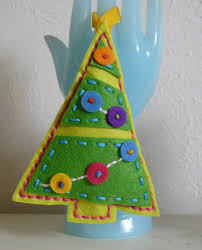 hand stitched bright buttons christmas tree felt christmas