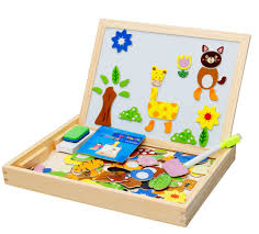 magnetic easel for toddlers wooden toys easel kids jungle animal magnetic drawing board puzzle