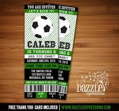 printable soccer birthday ticket invitation futbol ticket boys