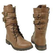light brown combat boots womens mid calf boots cross strap buckles combat casual comfort shoes