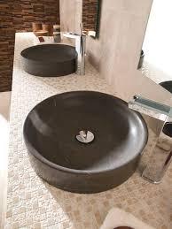 countertop washbasin round natural stone contemporary