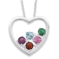 birthstone mothers necklace sterling silver birthstone mothers heart necklace