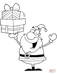 santa claus holding presents coloring page free printable