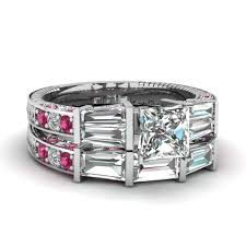 engagement jewelry sets princess cut tapered baguette wedding sets engagement rings