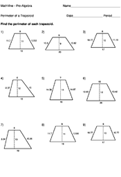 perimeter of a trapezoid worksheets mathvine com