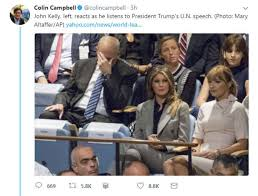 Trump Home Address by John Kelly Photographed With His Head In Hands During Trump Speech
