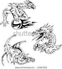dragon tattoo designs set vector illustrations stock vector