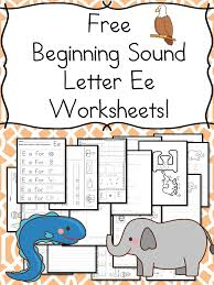 beginning sounds letter e worksheets free and fun