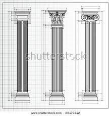 Greek Column Pedestal Doric Ionic Corinthian Classic Greek Column Stock Vector 88479442