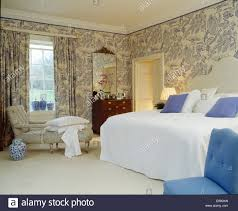Next White Bedroom Curtains Blue White Wallpaper And Matching Curtains In Country Bedroom With