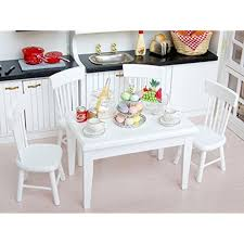 dollhouse furniture kitchen 5pcs 1 12 wooden kitchen dining table chair set dollhouse