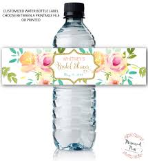 water bottle labels floral watercolor mint water wrap bridal
