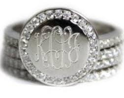 monogramed rings cz monogram ring etsy