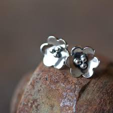 poppy earrings small poppy earrings domed sterling silver flower studs