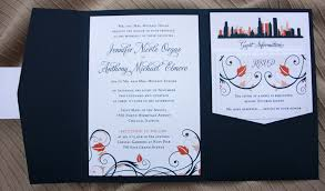 chicago wedding invitations chicago skyline fall swirls pocketfold wedding invitations