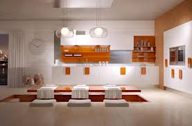 Adorable 20 Interior Design Kitchen Beautiful Orange Color Rectangle Shape Floating Dining Table Come
