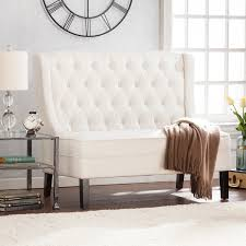 linklea high back tufted settee bench ivory sofas seating linklea high back tufted settee bench ivory