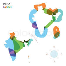 abstract vector color map of india with transparent paint effect