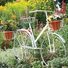Home Garden Decoration Amazing White Bicycle Plater Stand For Garden Decoration With