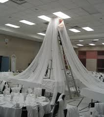 How To Draping 6 Panel Sheer Voile 30ft Ceiling Draping Kit 62 Feet Wide