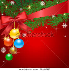 christmas card ornaments realistic spruce pine stock vector