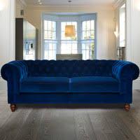 chesterfield 3 seater velvet sofa blue costco uk