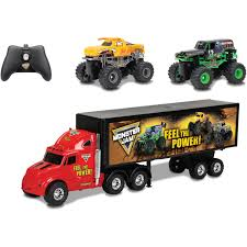 grave digger monster trucks r c monster jam hauler set with grave digger and toro loco