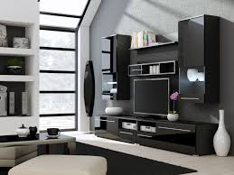 living room decor with white and black wall panels integrated tv