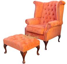 chesterfield fabric queen anne high back wing chair matching