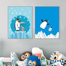 online shop nordic kawaii animal snow penguin family poster modern